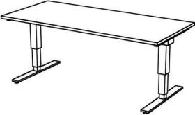 Hammerbacher Ergonomic Aktiv XDSM19/W/S, weiß, Sitz-Steh-Schreibtisch
