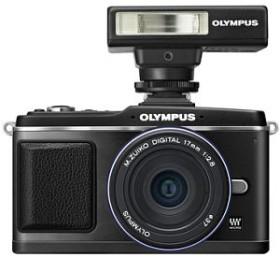 Olympus PEN E-P2 schwarz Special Edition mit Objektiv M.Zuiko digital 17mm 2.8 Pancake und FL-14 Blitzgerät (N4281592)