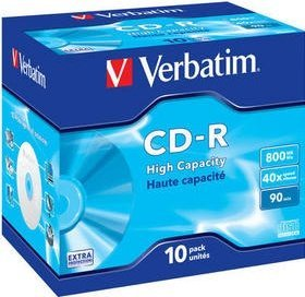 Verbatim High Capacity CD-R 90min/800MB 40x, 10er Jewelcase (43428)