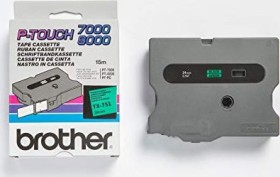 Brother TX-751 label-making tape 24mm, black/green (TX751)
