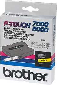 Brother TX-611 label-making tape 6mm, black/yellow (TX611)