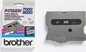 Brother TX-531 label-making tape 12mm, black/blue (TX531)