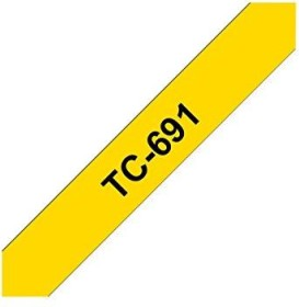 Brother TC-691 label-making tape 9mm, black/yellow (TC691)