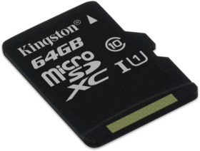 Kingston microSDXC 64GB, UHS-I, Class 10 (SDCX10/64GBSP)