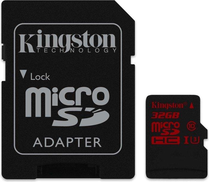 Kingston UHS-I U3 microSDHC 32GB Kit, UHS-I U3, Class 10 (SDCA3/32GB)