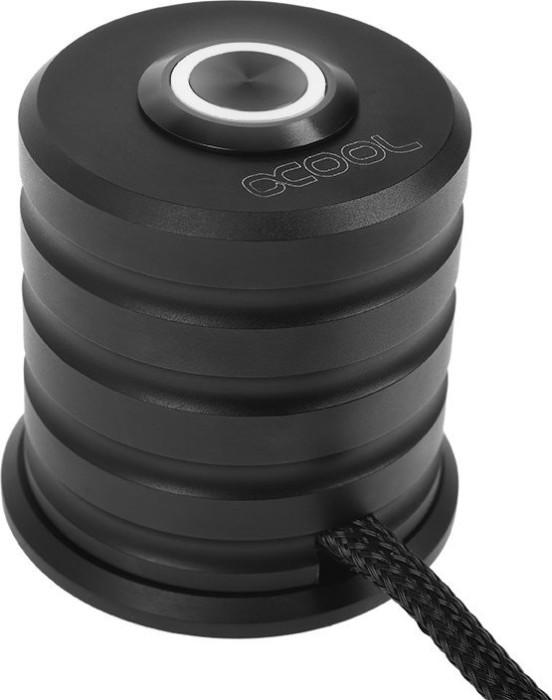 Alphacool Powerbutton, Taster schwarz, LED weiß, Ein-/Ausschalter für PC, 2m (17437)