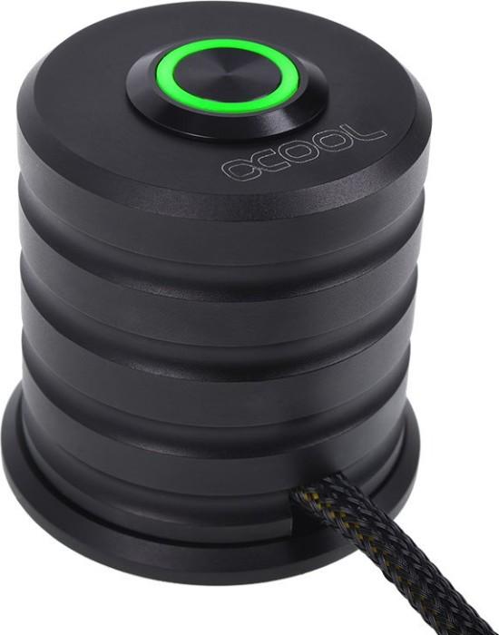 Alphacool Powerbutton, Taster schwarz, LED grün, Ein-/Ausschalter für PC, 2m (17436)