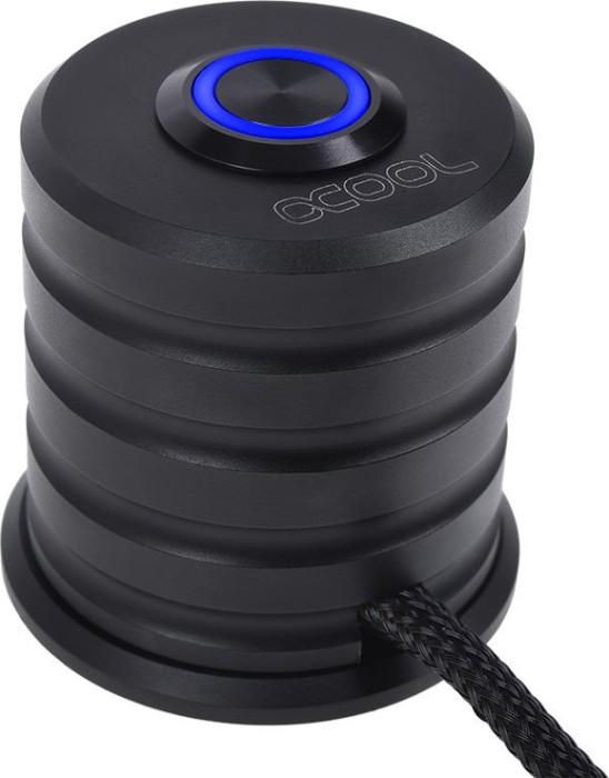 Alphacool Powerbutton, Taster schwarz, LED blau, Ein-/Ausschalter für PC, 2m (17435)