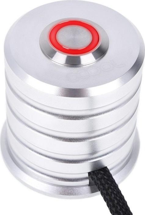 Alphacool Powerbutton, Taster chrome, LED rot, Ein-/Ausschalter für PC, 2m (17433)
