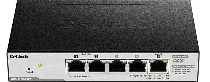 D-Link DGS-11 Desktop Gigabit Smart Switch, 5x RJ-45, PoE/PoE PD (DGS-1100-05PD)