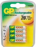 GP Batteries Micro AAA NiMH rechargeable battery 970mAh, 4-pack (GP 100AAAHC-UC4)