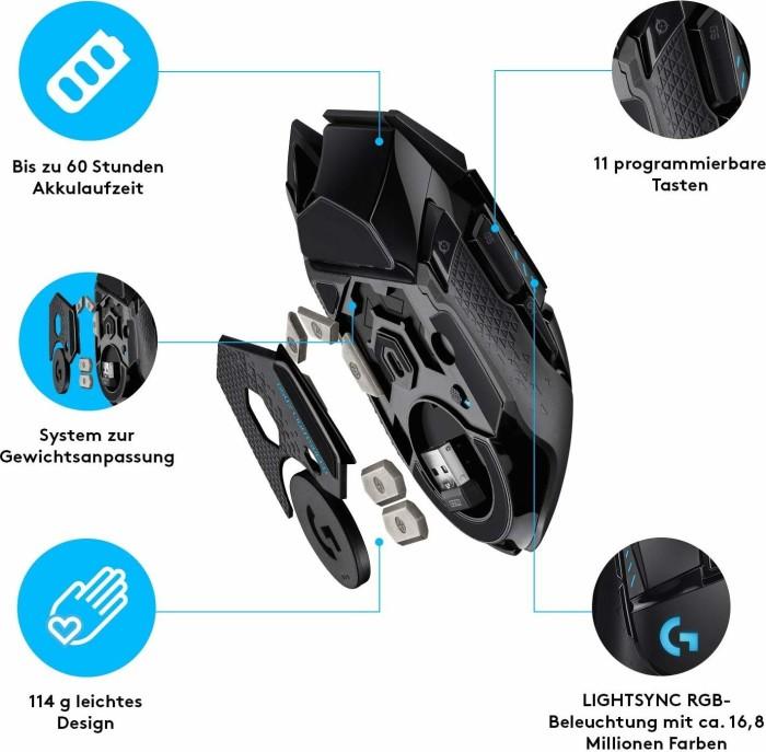 Logitech G502 Lightspeed wireless Gaming Mouse black, USB  (910-005567/910-005568)
