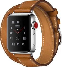 Apple Watch Hermès (GPS + Cellular) Edelstahl 38mm schwarz mit Double Tour Barenia-Lederarmband hellbraun (MQML2ZD/A)