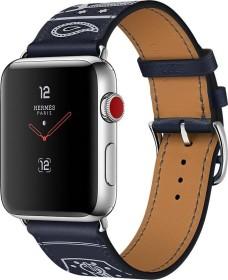 Apple Watch Hermès (GPS + Cellular) Edelstahl 38mm schwarz mit Single Tour Éperon d'Or Gala-Lederarmband marineblau (MQMQ2ZD/A)