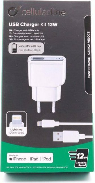 Cellularline USB Charger Kit 10W Lightning weiß (ACHUSBMFIIPH2AW) -- von ComStern.at