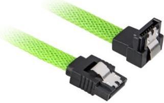 Sharkoon Sleeve Kabel SATA 6Gb/s, 0.3m, grün, gewinkelt mit Arretierung