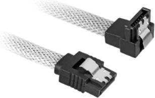 Sharkoon Sleeve Kabel SATA 6Gb/s, 0.3m, weiß, gewinkelt mit Arretierung