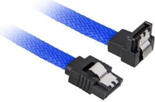 Sharkoon Sleeve Kabel SATA 6Gb/s, 0.6m, blau, gewinkelt mit Arretierung