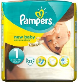 Pampers Premium Protection New Baby Gr.1 Einwegwindel, 2-5kg, 23 Stück
