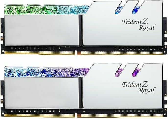 G Skill Trident Z Royal silver DIMM kit 16GB, DDR4-3200, CL14-14-14-34  (F4-3200C14D-16GTRS) from £ 207 90