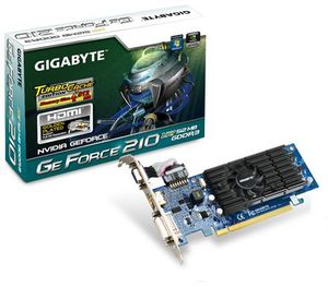Gigabyte GeForce 210 (GT218-300-B1) TC, 512MB DDR3, VGA, DVI, HDMI (GV-N210TC-512I)