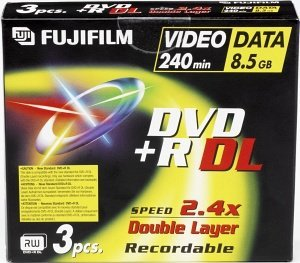 Fujifilm DVD+R 8.5GB DL, 3-pack Jewelcase (47093)