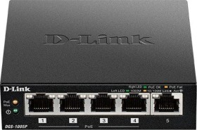 D-Link DGS-1000 Desktop Gigabit Switch, 5x RJ-45, PoE+ (DGS-1005P)