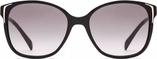 Prada Damen Sonnenbrille 0PR01OSA 1AB3M1, Schwarz (Gloss Black/Grey), 55