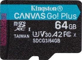 Kingston Canvas Go! Plus R170/W70 microSDXC 64GB, UHS-I U3, A2, Class 10 (SDCG3/64GBSP)