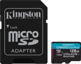 Kingston Canvas Go! Plus R170/W90 microSDXC 128GB Kit, UHS-I U3, A2, Class 10 (SDCG3/128GB)