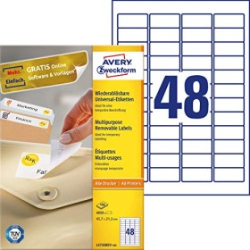 Avery-Zweckform Etiketten ablösbar 45.7x21.2mm, weiß, 100 Blatt (L4736REV-100)