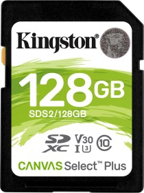 Kingston Canvas Select Plus R100/W85 SDXC 128GB, UHS-I U3, Class 10 (SDS2/128GB)