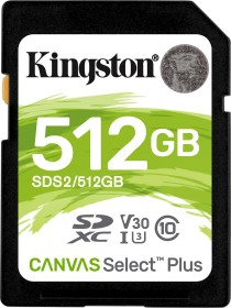 Kingston Canvas Select Plus R100/W85 SDXC 512GB, UHS-I U3, Class 10 (SDS2/512GB)