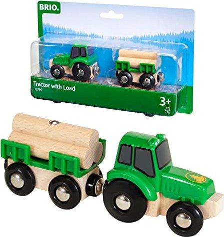 Bauernhof BRIO Traktor mit Holz Anhänger Spielzeug Bauernhof Kinder