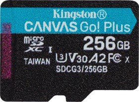 Kingston Canvas Go! Plus R170/W90 microSDXC 256GB, UHS-I U3, A2, Class 10 (SDCG3/256GBSP)