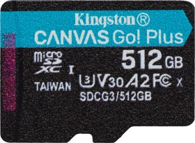 Kingston Canvas Go! Plus R170/W90 microSDXC 512GB, UHS-I U3, A2, Class 10 (SDCG3/512GBSP)