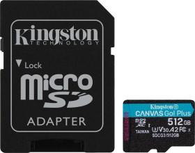 Kingston Canvas Go! Plus R170/W90 microSDXC 512GB Kit, UHS-I U3, A2, Class 10 (SDCG3/512GB)