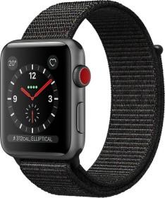 Apple Watch Series 3 (GPS + Cellular) Aluminium 38mm grau mit Sport Loop schwarz (MRQG2ZD/A)