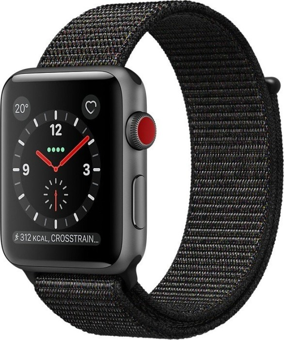 Apple Watch Series 3 (GPS + Cellular) Aluminium 42mm grau mit Sport Loop schwarz (MRQH2ZD/A)