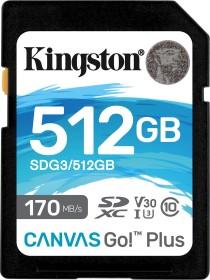 Kingston Canvas Go! Plus R170/W90 SDXC 512GB, UHS-I U3, A2, Class 10 (SDG3/512GB)