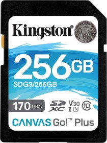Kingston Canvas Go! Plus R170/W90 SDXC 256GB, UHS-I U3, A2, Class 10 (SDG3/256GB)
