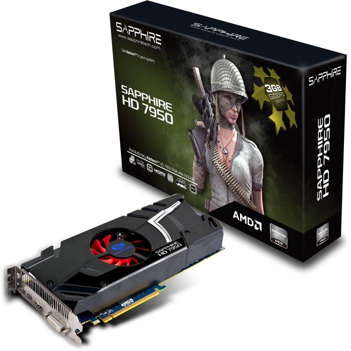 Sapphire Radeon HD 7950 Single Fan, 3GB GDDR5, DVI, HDMI, 2x Mini DisplayPort, full retail (11196-00-40G)