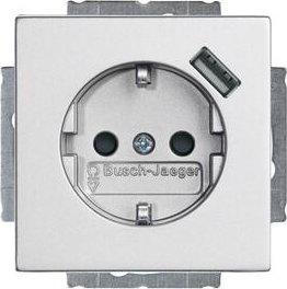 Busch-Jaeger Future Linear USB-Steckdose mit erhöhtem Berührungsschutz, alusilber (20 EUCBUSB-83)