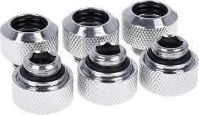 """Alphacool Eiszapfen pipe connection 1/4"""" on 13/10mm, chrome-plated, 6-pack (17376)"""