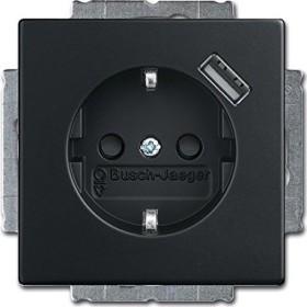 Busch-Jaeger Future Linear USB-Steckdose mit erhöhtem Berührungsschutz, schwarz matt (20 EUCBUSB-885)