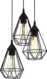 EGLO Pendelleuchte Tarbes schwarz Vintage, Hängelampe Esszimmer, Hängeleuchte 3 flammig, Retro Lampe im Industrial Design mit E27 Fassung, Pendellampe