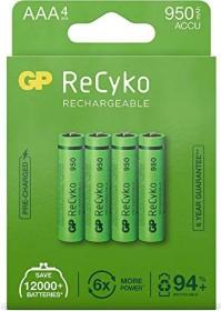 GP Batteries ReCyko Micro AAA NiMH 950mAh, 4-pack (120100AAAHCE-C4)