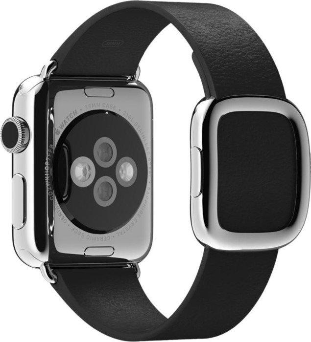 Apple modernes Lederarmband Large für Apple Watch 38mm schwarz (MJY92ZM/A)