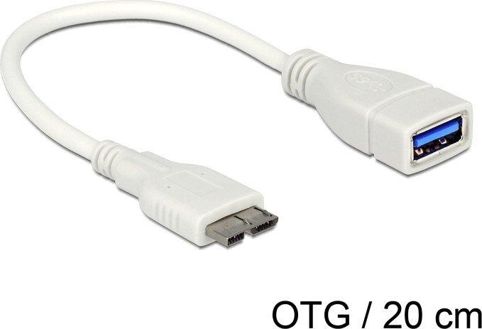 DeLOCK USB 3.0 OTG Adapterkabel weiß, USB-A Buchse/Micro-B Stecker, 0.2m (83469)