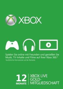 Microsoft Xbox Live Gold Subscription Card - 12 Monats Abo (Download) (Xbox One/Xbox 360)